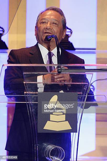 Armando Manzanero accepts the Lifetime Achievement Award at the Special Merit Awards Ceremony as part of the 56th GRAMMY Awards on January 25 2014 in...
