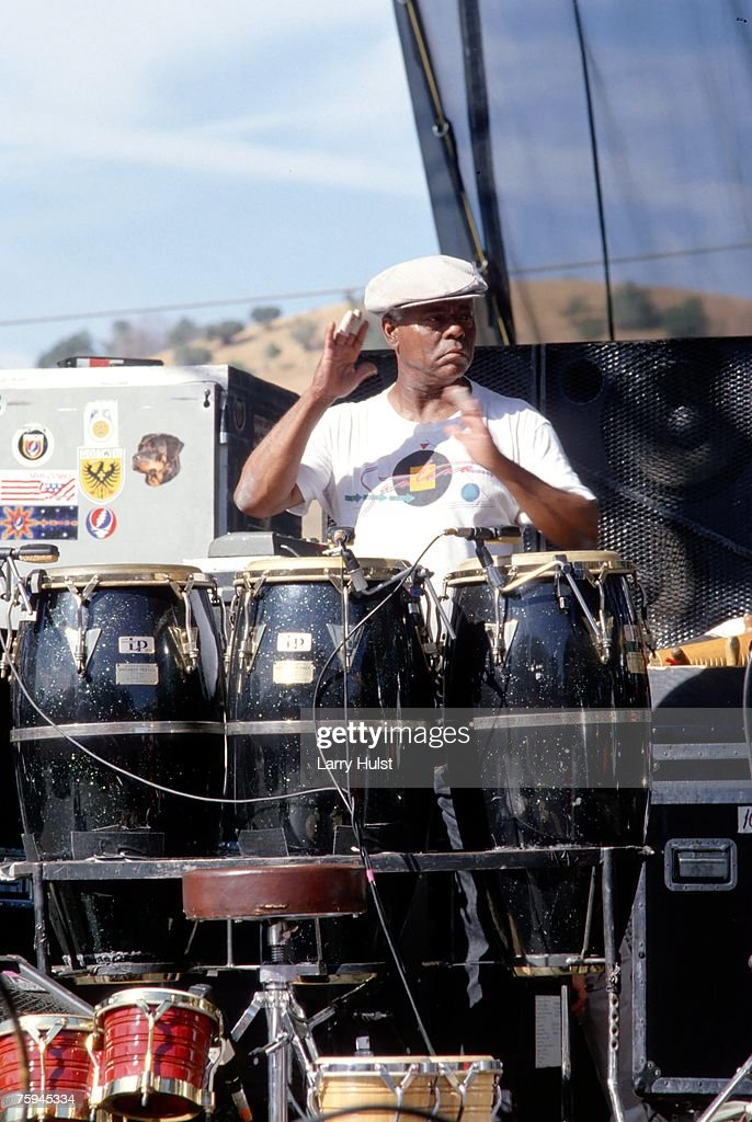 Armando Peraza performs with 'Santana' in the Mission District in San Francisco, California on May 5, 1988.