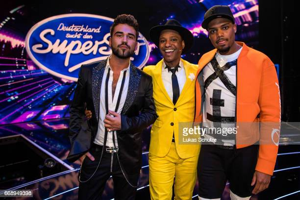 Armando Sarowny Ivanildo Kembel and Ruben Mateo pose after the second event show of the tv competition 'Deutschland sucht den Superstar' at Coloneum...