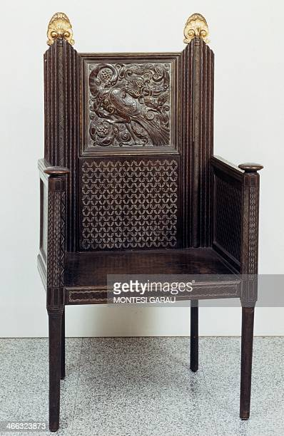 Armchair by Ettore Zaccari walnut with gilding Italy 20th century