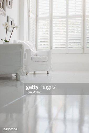 Armchair in elegant white living room