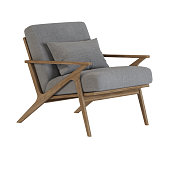 Armchair on wooden legs. Isolate. 3D rendering.