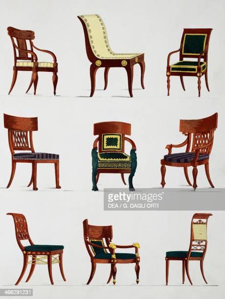 Armchairs and chairs Consulate era illustration from Collection de meubles et objets de gout by PierreAntoine Leboux de La Mesangere