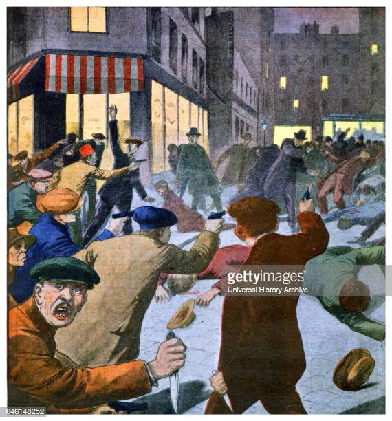 Armed anticommunist attack in the rue Danremont Paris where a communist meeting was taking place Front Page of French newspaper 'Le petit journal'...