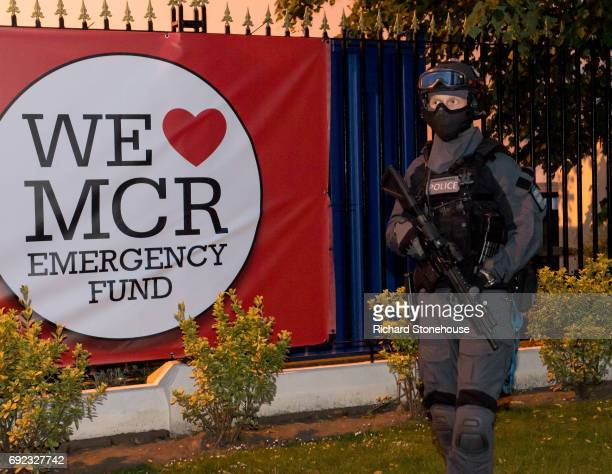 Armed Counter Terrorism Officers at the One Love Manchester Benefit Concert on June 4 2017 in Manchester England