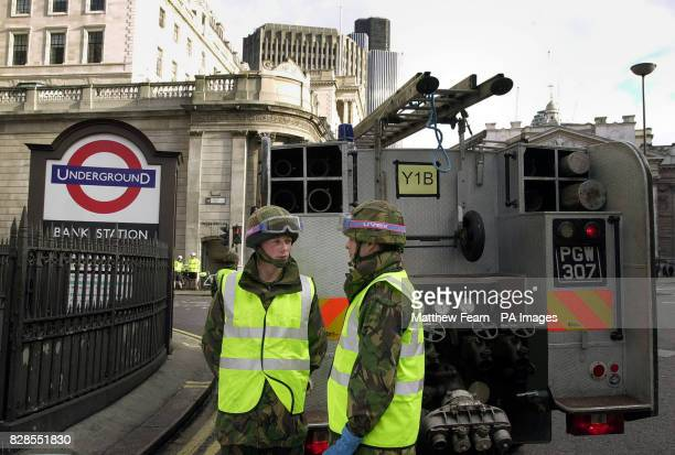Armed forces firefighters from the Household Cavalry attend a reported incident at Bank underground station in the City of London using the Green...