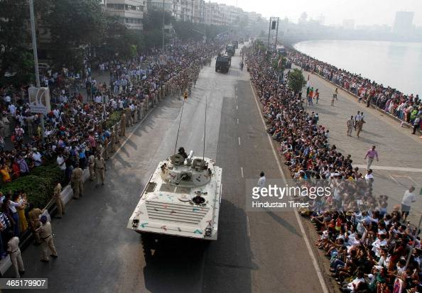 Armed forces march past during the 65th Republic Day parade on January 26 2013 in Mumbai India This is the first time the parade has been held at...
