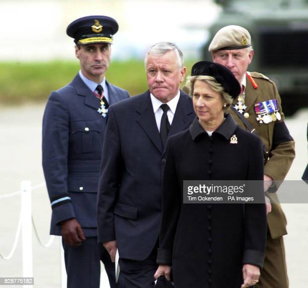 Armed Forces minister Adam Ingram with the Duchess of Gloucester watch on as the coffins of four soldiers that were killed in Iraq are carried from...