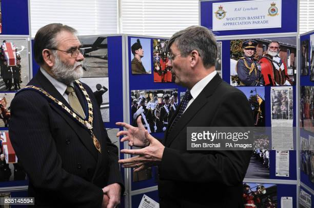 Armed Forces Minister Bob Ainsworth chats with Mayor of Wootton Bassett Michael Leighfield at RAF Lyneham where he is visiting to thank everyone...