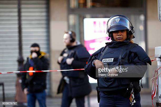 Armed French police patrol near the Boulevard de Barbes in the north of Paris on January 7 2016 in Paris France French police have shot dead a man as...
