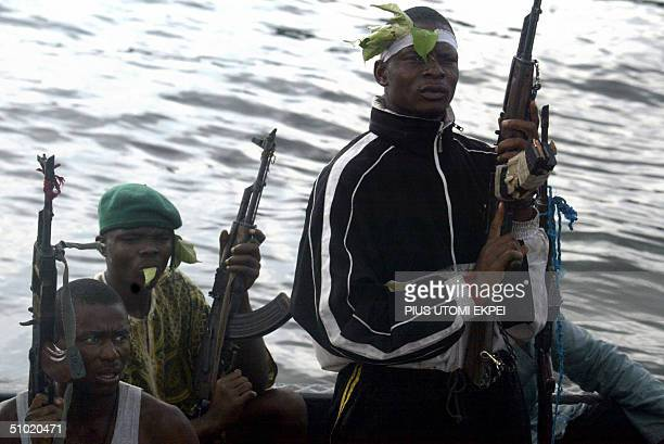 Armed Ijaw militants loyal to Alhaji Dokubo Asari patrol creek towns in the Niger Delta 01 July 2004 'The entire Nigerian state is fraudulent That's...