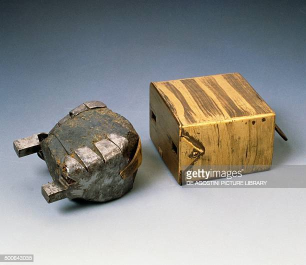 Armed lodestones used by Galileo Galilei in his studies on magnets between 1600 and 1609 iron magnetite and brass 73x75 cm Italy 17th century...