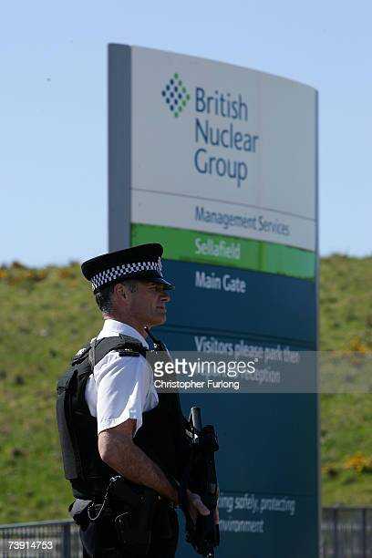 Armed officers from the Civil Nuclear Police guard the main entrance to Sellafield nuclear plant on April 18 2007 in Sellafield England An official...
