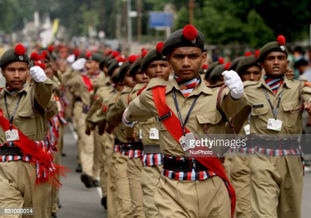 Armed Police force students of National Credit Corps and Scout Guide look in their ceremonial dress as they march past on the final and full dress...