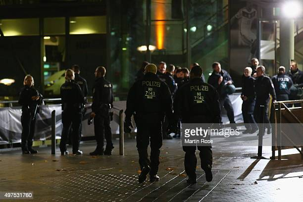 Armed police forces search the stadium area as the game between Germany and Netherlands is suspended due to suspicious activity on November 17 2015...