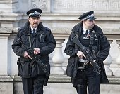 Armed Police keep watch during the annual Remembrance Sunday Service at the Cenotaph on Whitehall on November 9 2014 in London United Kingdom People...