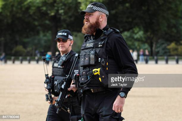 Armed police officers patrol in Horse Guards Parade on September 16 2017 in London England An 18yearold man has been arrested in Dover in connection...