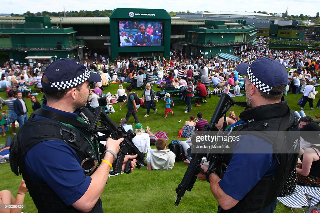 Armed Police patrol on day one of the Wimbledon Lawn Tennis Championships at the All England Lawn Tennis and Croquet Club on June 27th, 2016 in London, England.