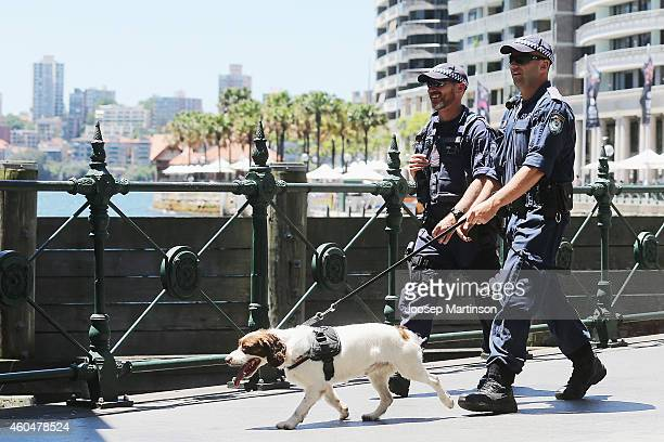 Armed police perform a safety check with a dog on December 15 2014 in Sydney Australia Major landmarks in Sydney including the Sydeny Opera House...