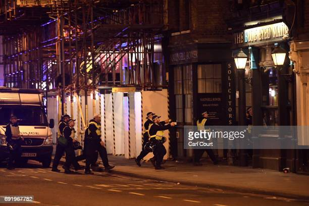 Armed police raid The Blue Eyed Maid in Borough high street at London Bridge on June 3 2017 in London England Police have responded to reports of a...