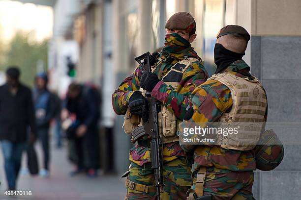 Armed soldiers guard the casino on Boulevard Anspach on November 23 2015 in Brussels Belgium Security has been tightened in the nation's capital...