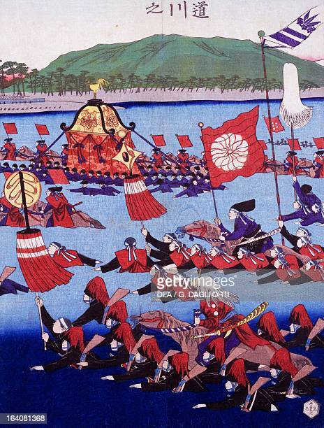 Armed troops crossing a lake Ukiyoe woodblock print from the Edo period Japan Paris Bibliothèque Des Arts Decoratifs