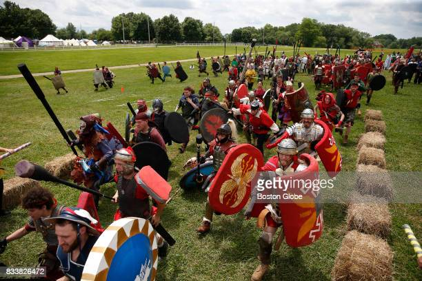 Armed with foam shields and weapons Gladiators from the camp Rome charge into battle at Ragnarok XXXII on June 21 2017 For one week each summer the...