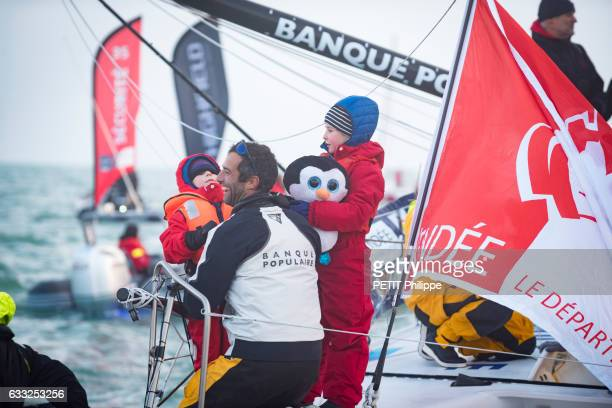 Armel le Cleac'h the winner of the Vendee Globe race 20162017 with his childrens Edgar 6 old and Louise 9 old are photographed for Paris Match on his...