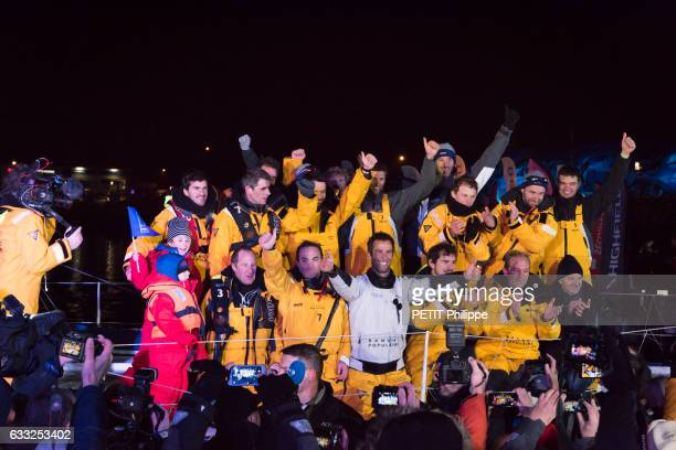 Armel le Cleac'h the winner of the Vendee Globe race 20162017 with his team are photographed for Paris Match on his boat Banque Populaire VIII on...