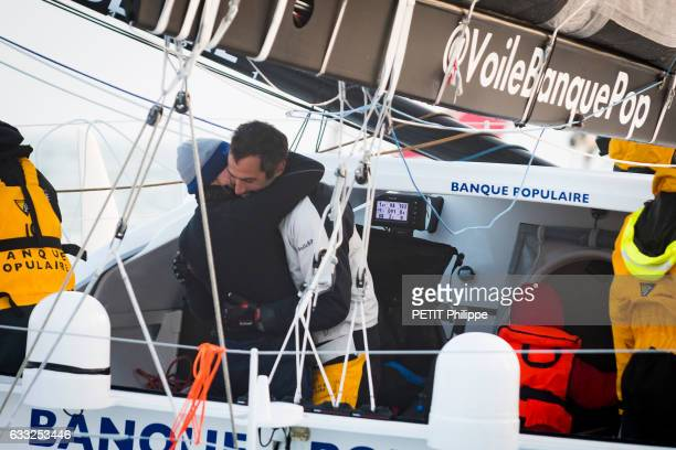 Armel le Cleac'h the winner of the Vendee Globe race 20162017 with his wife Aurelie are photographed for Paris Match on his boat Banque Populaire...