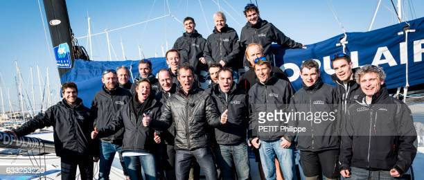 Armel le Cleac'h the winner of the Vendee Globe race 20162017 with Ronan Lucas and his team pose for Paris Match on january 20 2017 in Sablesd'Olonne...