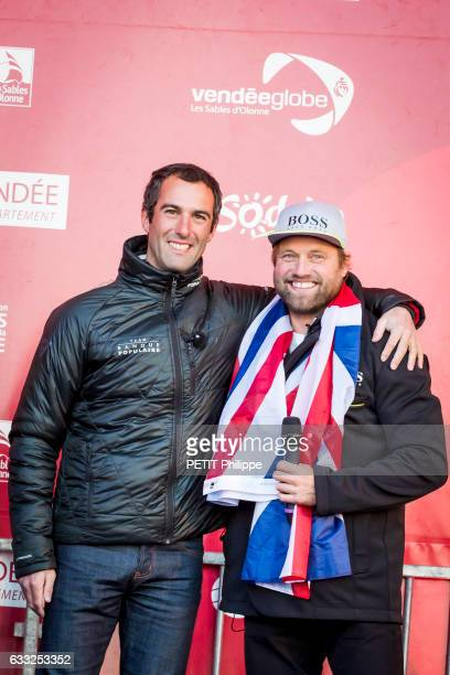 Armel le Cleac'h the winner of the Vendee Globe race 20162017and Alex Thomson are photographed for Paris Match on his boat Banque Populaire VIII on...