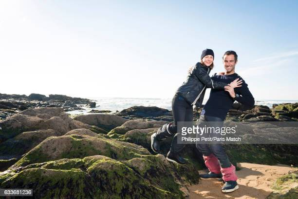Armel Le Cleac'h winner of the Vendee Globe around the world solo yacht race 20162017 is photographed with his wife for Paris Match on January 22...
