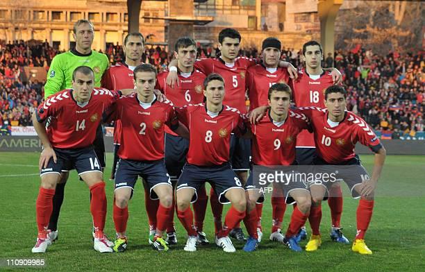 Armenia football team pose before RussiaArmenia 2012 UEFA European Championship qualifying match group B in Yerevan on March 26 2011 EURO 2012...