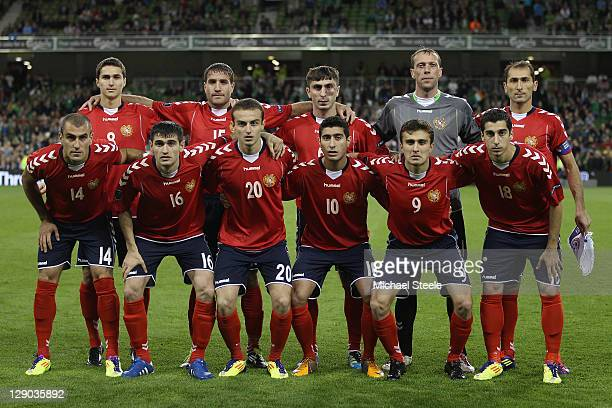 Armenia team line up during the EURO 2012 Group B qualifying match between the Republic of Ireland and Armenia at the Aviva Stadium on October 11...