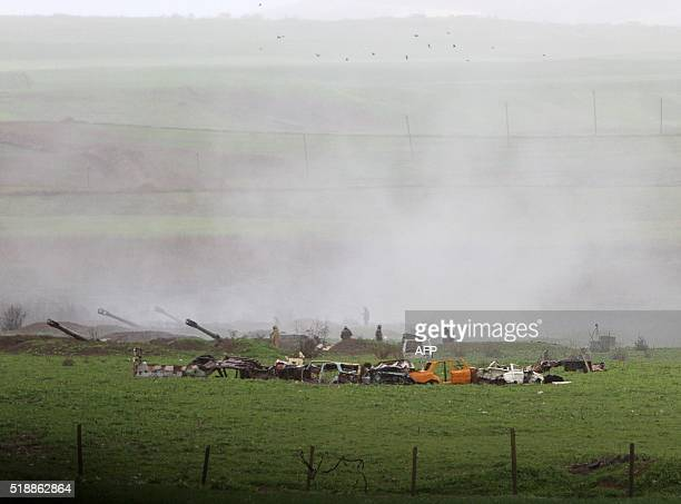Armenian artillery units are seen in the town of Martakert in Armenianseized Azerbaijani region of Nagorny Karabakh on April 3 2016 Sporadic fighting...