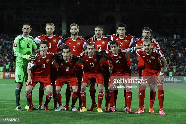 Armenian football team pose for a team photo prior to the UEFA Euro 2016 Group I qualifying round game between Armenia and Denmark at Vazgen Sargsyan...
