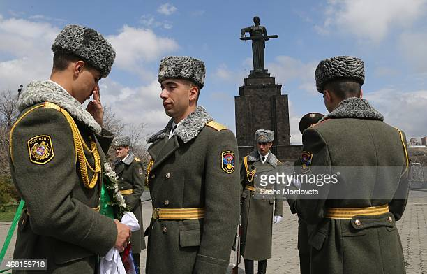 Armenian guards prepare for a wreath laying ceremony at the Mother Armenia Statue on March 30 2015 in Yerevan Armenia Russian State Duma Speaker...