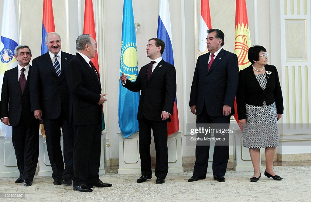 Armenian President Serge Sargsyan, Belarus President <a gi-track='captionPersonalityLinkClicked' href=/galleries/search?phrase=Alexander+Lukashenko&family=editorial&specificpeople=542572 ng-click='$event.stopPropagation()'>Alexander Lukashenko</a>, Kazakh President <a gi-track='captionPersonalityLinkClicked' href=/galleries/search?phrase=Nursultan+Nazarbayev&family=editorial&specificpeople=4556028 ng-click='$event.stopPropagation()'>Nursultan Nazarbayev</a>, Russian President <a gi-track='captionPersonalityLinkClicked' href=/galleries/search?phrase=Dmitry+Medvedev&family=editorial&specificpeople=554704 ng-click='$event.stopPropagation()'>Dmitry Medvedev</a>, Tajil President Emomali Rakhmon and Kyrgyz President Rosa Otunbaeva attend a group photo prior to the Eurasian Economic Community (EurAsEC) on July 5, 2010 in Astana, Kazakhstan. Leaders of Russia, Kazakhstan, Tajikistan, Ukraine, Kyrgyzstan and Moldova gathered in Astana for a one-day summit.
