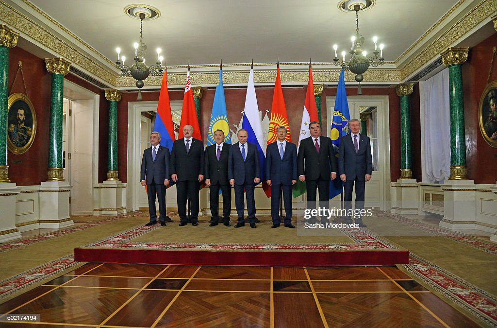Armenian President Serge Sargsyan, Belarussian President Alexander Lukashenko, Kazakh President Nursultan Nazarbayev, Russian President Vladimir Putin, Kyrgyz President Almazbek Atambayev, Tajik President Emomali Rakhmon and CSTO Secretary Nikolai Borduzha pose for a photo during the Summit of Collective Security Treaty Organisation (CSTO) in Grand Kremlin Palace on December 21, 2015 in Moscow, Russia. Leaders of post-Soviet states, Belarus, Armenia, Kazakhstan, Tajikistan, Kyrgyzstan and Russia meet in Moscow for the CSTO Summit.