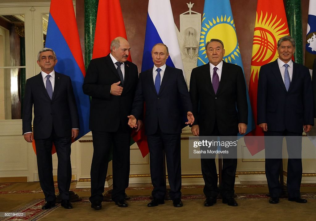 Armenian President Serge Sargsyan, Belarussian President Alexander Lukashenko, Russian President Vladimir Putin, Kazakh President Nursultan Nazarbayev and Kyrgyz President <a gi-track='captionPersonalityLinkClicked' href=/galleries/search?phrase=Almazbek+Atambayev&family=editorial&specificpeople=4229890 ng-click='$event.stopPropagation()'>Almazbek Atambayev</a> pose for a photo during the Summit of Eurasian Economic Union in Grand Kremlin Palace December 21, 2015 in Moscow, Russia. Leaders of post-Soviet states have gathered in Moscow for the CSTO Summit and Eurasian Economic Union Summit.