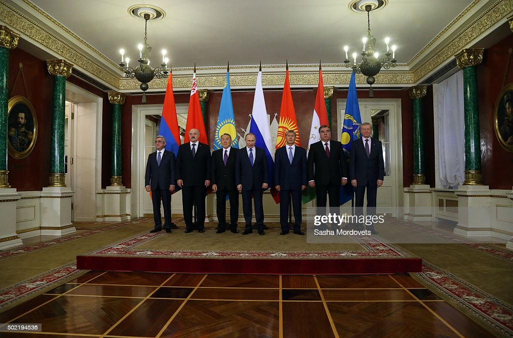 Armenian President Serge Sargsyan, Belarussian President Alexander Lukashenko, Kazakh President Nursultan Nazarbayev, Russian President Vladimir Putin, Kyrgyz President <a gi-track='captionPersonalityLinkClicked' href=/galleries/search?phrase=Almazbek+Atambayev&family=editorial&specificpeople=4229890 ng-click='$event.stopPropagation()'>Almazbek Atambayev</a>, Tajik President Emomali Rakhmon, CSTO Secretary Nikolai Borduzha pose for a photo duringh the Summit of Collective Security Treaty Organisation (CSTO) in Grand Kremlin Palace December 21, 2015 in Moscow, Russia. Leaders of post-Soviet states - Belarus, Armenia, Kazakhstan, Tajikistan, Kyrgyzstan and Russia have gathered in Moscow for the CSTO Summit.