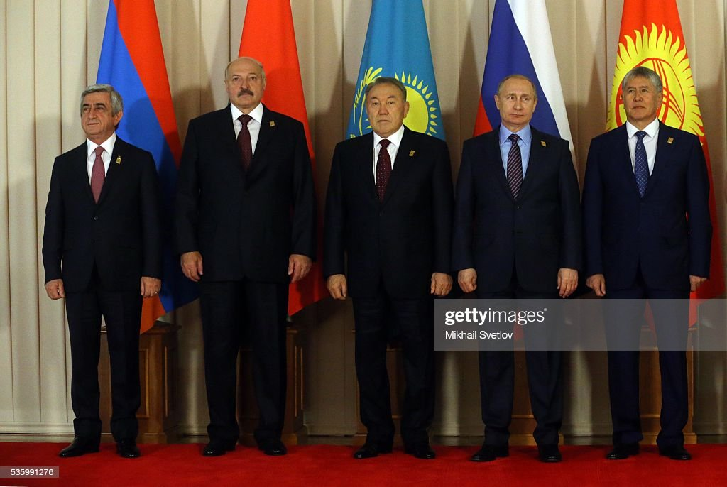 ASTANA, KAZAKHSTAN - MAY, 31 (RUSSIA OUT) (L-R) Armenian President Serge Sargsyan, Belarussian President <a gi-track='captionPersonalityLinkClicked' href=/galleries/search?phrase=Alexander+Lukashenko&family=editorial&specificpeople=542572 ng-click='$event.stopPropagation()'>Alexander Lukashenko</a>, Kazakh President <a gi-track='captionPersonalityLinkClicked' href=/galleries/search?phrase=Nursultan+Nazarbayev&family=editorial&specificpeople=4556028 ng-click='$event.stopPropagation()'>Nursultan Nazarbayev</a>, Russian President <a gi-track='captionPersonalityLinkClicked' href=/galleries/search?phrase=Vladimir+Putin&family=editorial&specificpeople=154896 ng-click='$event.stopPropagation()'>Vladimir Putin</a> and Kyrgyz President <a gi-track='captionPersonalityLinkClicked' href=/galleries/search?phrase=Almazbek+Atambayev&family=editorial&specificpeople=4229890 ng-click='$event.stopPropagation()'>Almazbek Atambayev</a> pose for a group photo during the Eurasian Economic Union Summit at Akorda Palace on May 31, 2016 in Astana, Kazakhstan. Heads of the Eurasian Economic Union (EAEU) member states Russia, Belarus, Armenia, Kazakhstan and Kyrgyzstan have gathered in Astana for the summit. President Putin will also hold talks with Kazakh President <a gi-track='captionPersonalityLinkClicked' href=/galleries/search?phrase=Nursultan+Nazarbayev&family=editorial&specificpeople=4556028 ng-click='$event.stopPropagation()'>Nursultan Nazarbayev</a>.