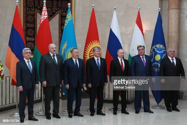 LR Armenian President Serge Sargsyan Belarussian President Alexander Lukashenko Kazakh President Nursultan Nazarbayev Kyrgyz President Almazbek...