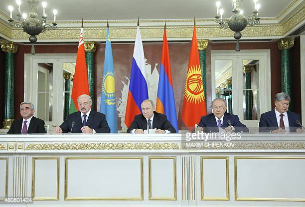 Armenian President Serzh Sargsyan Belarussian President Alexander Lukashenko Russian President Vladimir Putin Kazakh President Nursultan Nazarbayev...