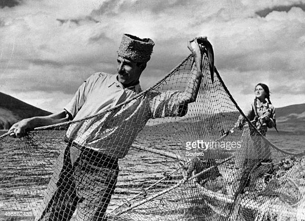 Armenian repatriation Avetis Tilbian who arrived in Soviet Armenia from Beirut fishing on Lake Sevan after joining a collectivized fishery Late 1940s