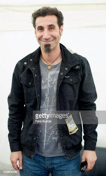 Armenian singer/songwriter Serj Tankian relaxes backstage on day two of the Reading Festival at Richfield Avenue on August 28 2010 in Reading England
