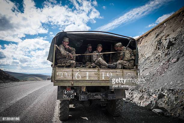 Armenian soldiers leaving Nagorno-Karabakh