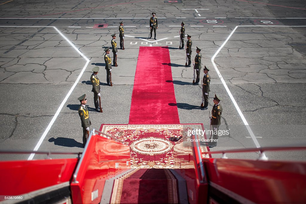 Armenian soldiers stand next to the red carpet at the airport on June 30, 2016 in Yerewan, Armenia. He visits the south caucasian countries Armenia, Azerbaijan and Georgia for political conversations.