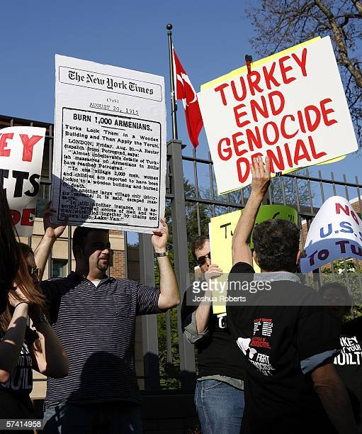 Armenians take part in a demonstration remembering the Armenian Genocide in front of the Turkish Embassy April 24 2006 in Washington DC Several...